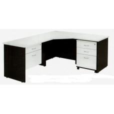 Logan Corner Workstation with Drawer Box and Mobile Pedestal