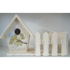 Wooden Bird House & Pot Planter