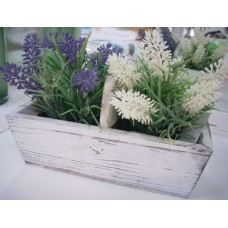 Faux Lavender In Wooden Tray
