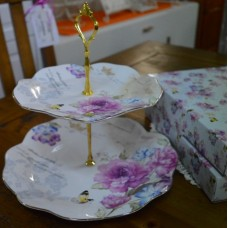 Bone China Cake Stand- Floral