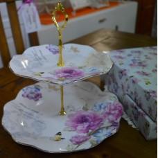Bone China Cake Stand- Floral