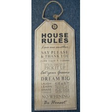 House Rules Plaque - Beige