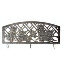 Three Hook Metal Wall Hanger - Kitty