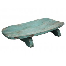 Wooden Footed Fruit Bowl - Antique Blue