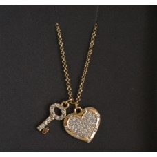 Gold tone Heart with key- Inspire