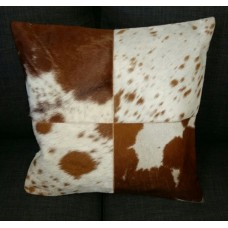 Cow Hide Cushion Cover - Brown/White Squares