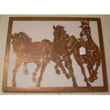 Horse Cantering Laser Cut Rust Metal