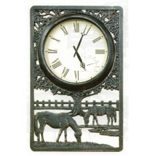 Horse Outdoor Clock With Thermometer