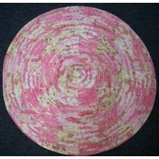 Pink Patchwork Round Frilled Floor Mat - 80 cm