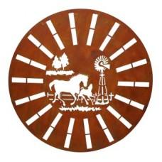 Laser Cut Rust Circular Horse/Windmill