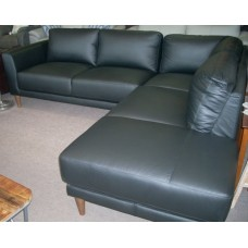 Byron 5 Seater Black Leather With Chaise