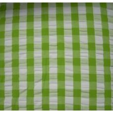 Seersucker Gingham Tablecloth - 145 cm Round - Lime Green