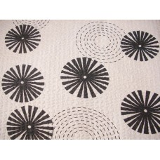 Circles White & Grey / Black Cotton Seersucker Tablecloth 145 x 300 cm