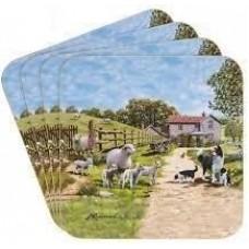 Collie and Sheep Farmyard Coasters