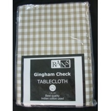 Gingham Check Tablecloth - 130x180 cm Taupe