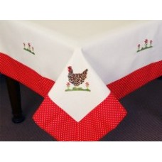 Cottage Chickens Tablecloth - 100 x 100 cm