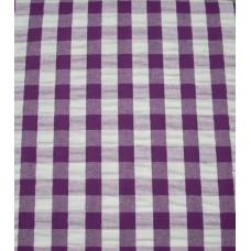 Seersucker Gingham Tablecloth - 145 cm Round - Plum