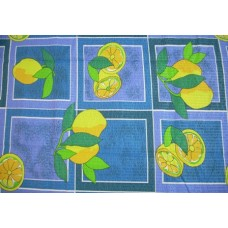 Lemons Blue Cotton Seersucker Tablecloth 145 x 185 cm