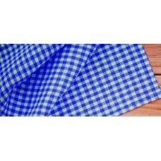 Gingham Check Tablecloth - 180 cm round - Blue