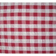 Seersucker Gingham Tablecloth - Rectangle - 145 x 230 - Red
