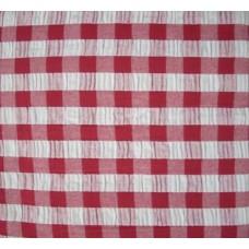 Seersucker Gingham Tablecloth - 145 cm Round - Red