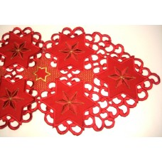 Red Christmas Star Table Runner 35 x 150 cm