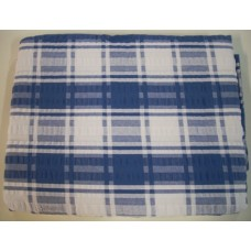 Seersucker Check Tablecloth - Rectangle - 145 x 270 - Blue