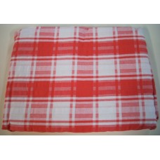 Seersucker Check Tablecloth - Rectangle - 145 x 270 - Red