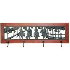 Wood Framed Metal Wall Art or Coat Rack