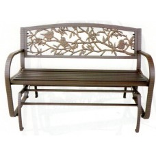 Tube Steel/Cast Iron Glider Bench- Garden Birds