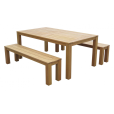 Milano Outdoor Dining Table with Bench Seats